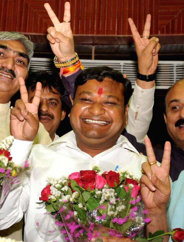 Newly elected mayor of South Delhi Municipal Corporation Khushi Ram at Civic Center in New Delhi on April 29, 2014.