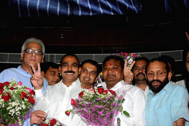 Newly elected mayor of South Delhi Municipal Corporation Khushi Ram with Deputy Mayor Praveen Rana, and others at Civic Center in New Delhi on April 29, 2014.