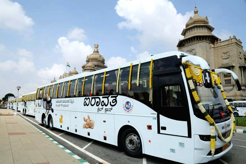 Newly launched Airavat Club Class bus at Vidhan Soudha in Bengaluru on Sept 13, 2017.