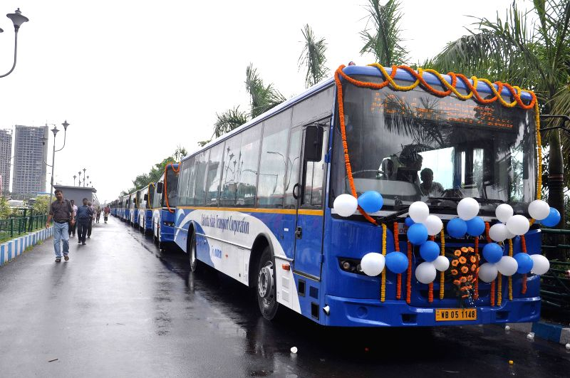 Newly launched buses at New Town in Kolkata on Sept 1, 2014.