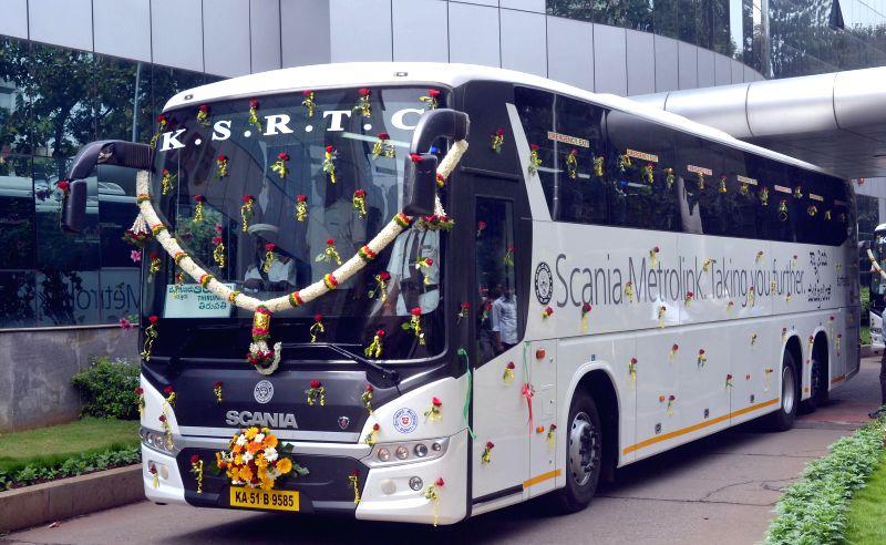 Newly launched KSRTC Scania Metrolink bus at KSRTC Head Office in Bangalore on Aug 4, 2014.