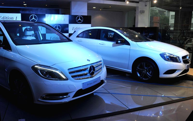 Newly launched Mercedes-Benz Special A-Class and B-Class 'Edition 1' cars in Kolkata on June 26, 2014.