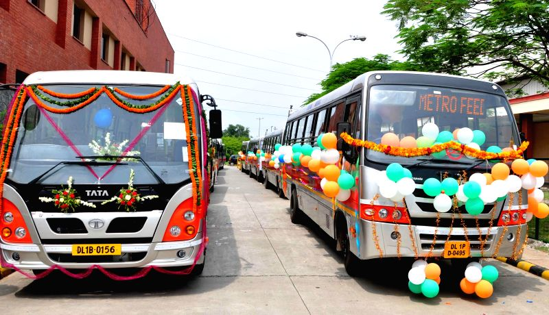 Newly launched Metro Feeder buses in New Delhi on Aug 4, 2014.