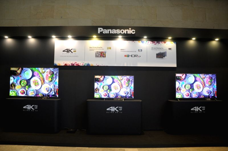 Newly launched Panasonic OLED TVs, at the launch of OLED TV series in India; in New Delhi on July 25, 2018. Panasonic India on Wednesday announced its debut in the OLED TV segment with a ...