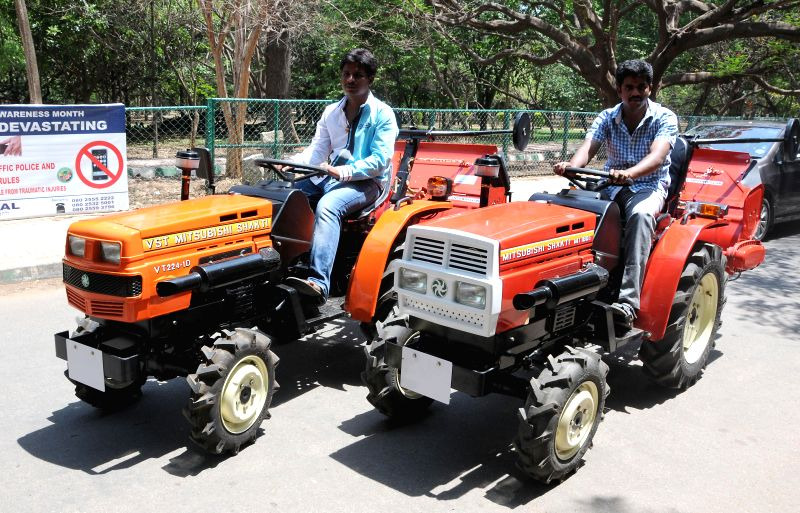 Newly launched tractors by VST Tillers Tractors during a press conference in Bangalore on April 21, 2014.
