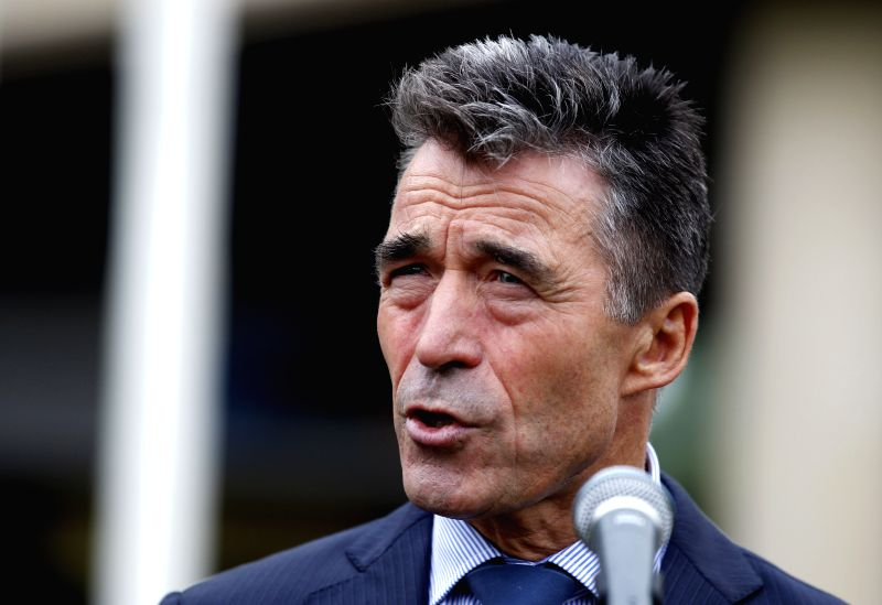 The NATO Secretary General Anders Fogh Rasmussen makes a speech before the opening of the NATO Summit 2014 in Newport, Wales, the United Kingdom, Sept. 4, 2014. The
