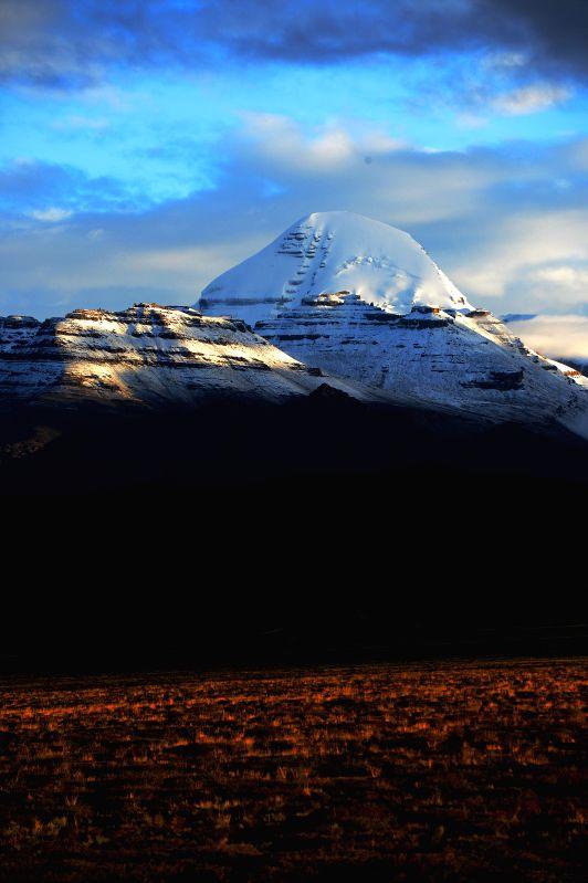 "Photo taken on Aug. 14, 2014 shows a view of the ""holy mountain"", the Kangrinboqe, in Ngari Prefecture, southwest China's Tibet Autonomous Region. ..."