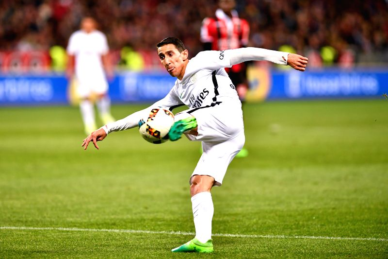 NICE, May 1, 2017 - Angel Di Maria from Paris St Germain tries to shoot during the French Ligue 1 soccer match with OGC Nice in Nice, France on April 30, 2017. OGC Nice won 3-1.
