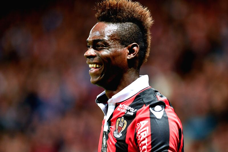 NICE, May 1, 2017 - Mario Balotelli from OGC Nice reacts during the French Ligue 1 soccer match with Paris St Germain in Nice, France on April 30, 2017. OGC Nice won 3-1.