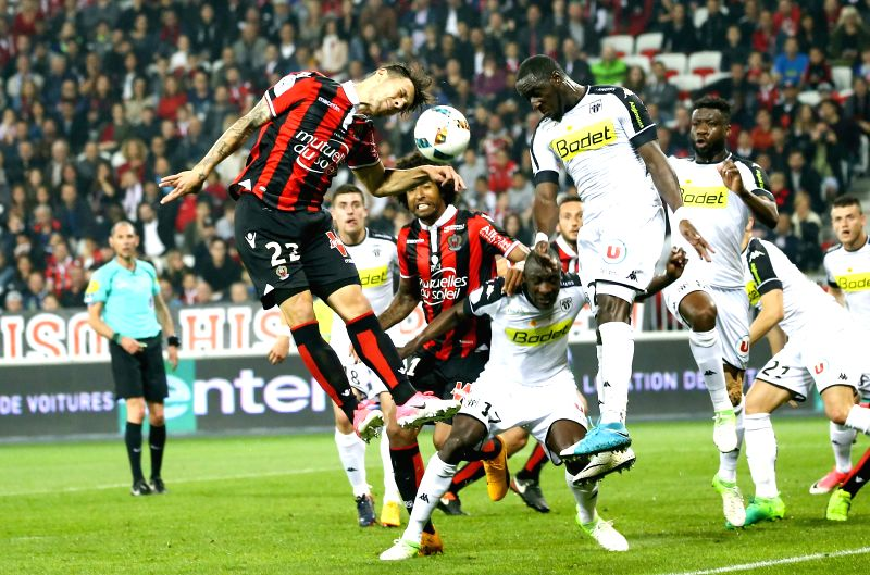 NICE, May 15, 2017 - Anastasios Donis (front L) from OGC Nice competes during a French Ligue 1 match against SCO Angers in Nice, France on May 14, 2017. OGC Nice lose 0-2 at home.