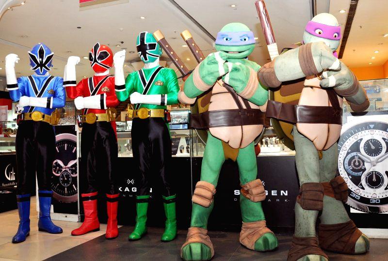 Nicktoons teenage Mutant Ninja Turtles launch TMNT merchandise in Gurgaon on Aug 20, 2014.