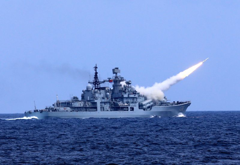 NINGBO, Aug. 1, 2016 - An anti-aircraft missile is launched during a drill in the East China Sea, Aug 1, 2016. The Chinese navy started a drill, which involved firing dozens of missiles and ...