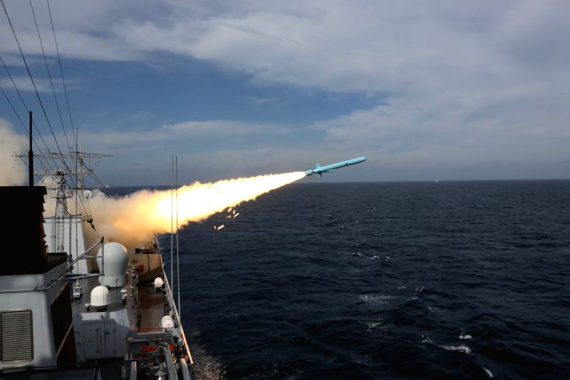 NINGBO, Aug. 1, 2016 - An anti-ship missile is launched during a drill in the East China Sea, Aug 1, 2016. The Chinese navy started a drill, which involved firing dozens of missiles and torpedoes, in ...