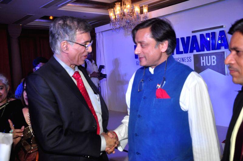 Niranjan Hiranandani, Founder, Hirco and co-founder Hiranandani Group and Congress leader Shashi Tharoor during launch of Penn Hub - India, the first global education initiative partnership with ... - Shashi Tharoor