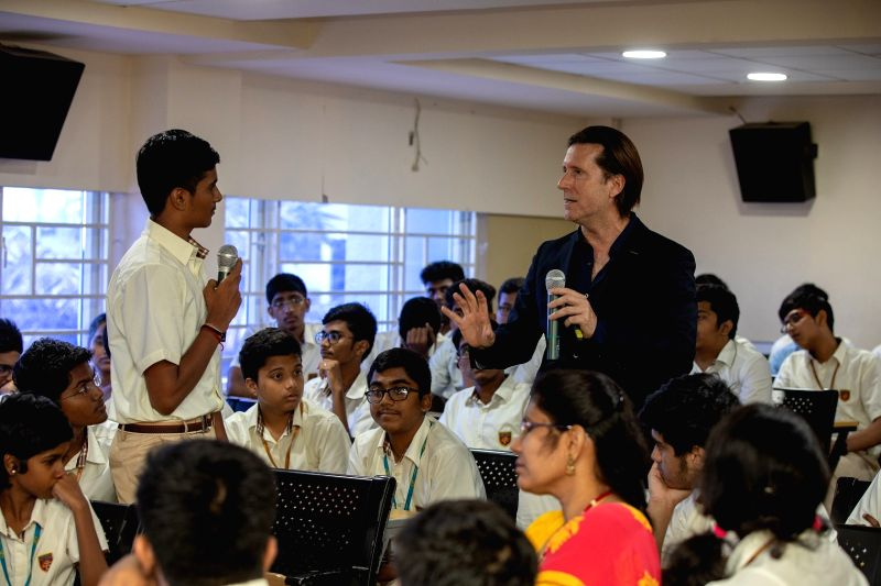 Nissan Motor Senior Vice President for Global Design Alfonso Albaisa addresses students during 'Roots of Design' program at Chennai Public School, on July 31, 2018.