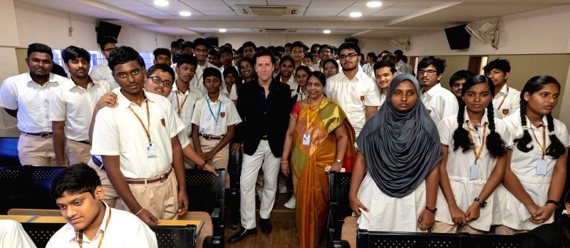 Nissan Motor Senior Vice President for Global Design Alfonso Albaisa with the students during 'Roots of Design' program at Chennai Public School, on July 31, 2018.