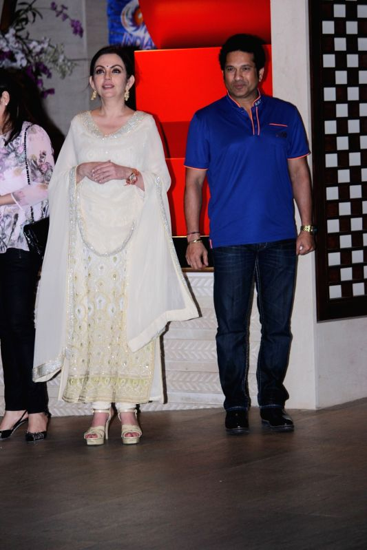 Nita Ambani owner of Mumbai Indians along with former Indian cricket player and Mumbai Indians icon player Sachin Tendulkar during the party organised to celebrates Mumbai Indians victory in ... - Sachin Tendulkar and Nita Ambani
