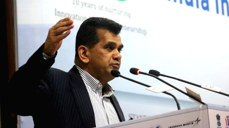 NITI Aayog CEO Amitabh Kant addresses a programme on DST-Lockhneed Martin India Innovation Growth Programme 2016, in New Delhi on June 3, 2016.