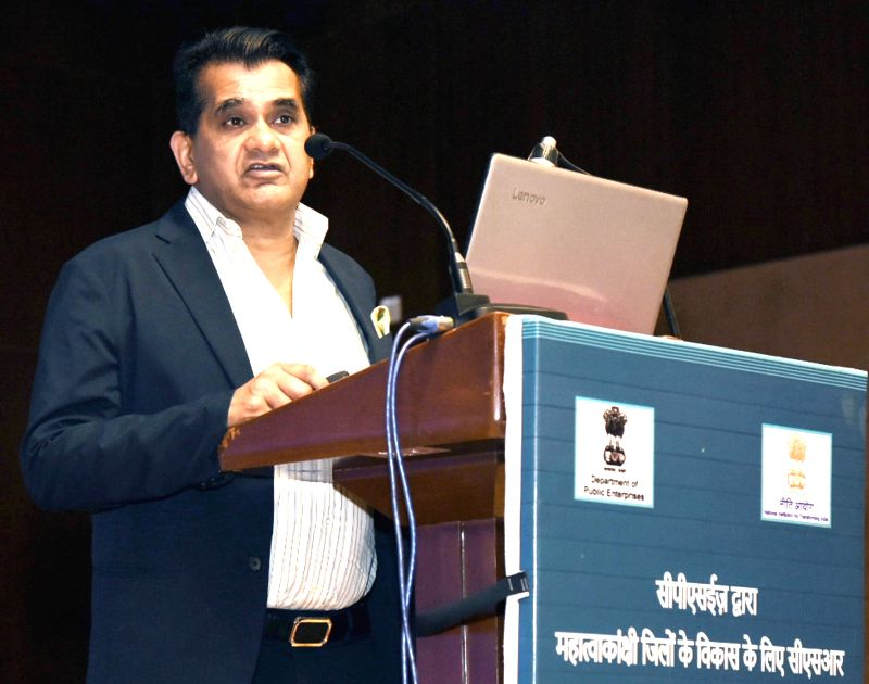NITI Aayog CEO Amitabh Kant addresses at a meeting of the chiefs of Central Public Sector Enterprises (CPSE) to seek the role of Corporate Social Responsibility (CSR) in Aspirational ...