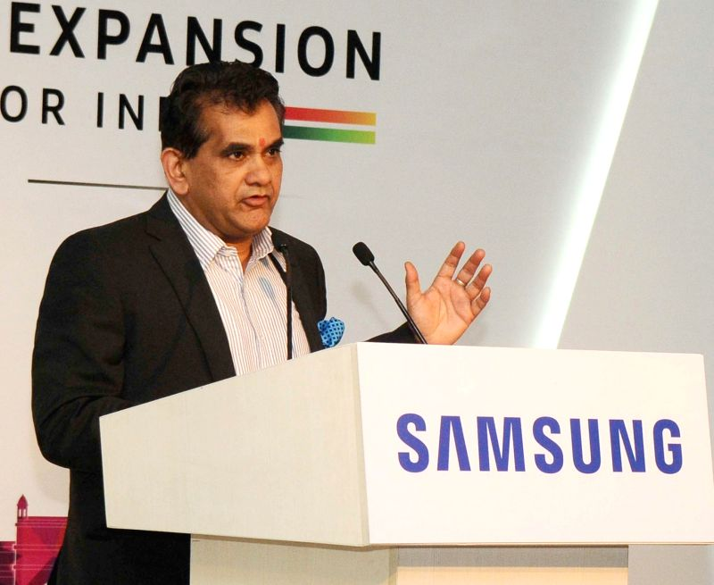 NITI Aayog CEO Amitabh Kant addresses at the foundation stone laying ceremony of the Samsung Plant Mega Expansion in Noida, Uttar Pradesh on June 7, 2017.