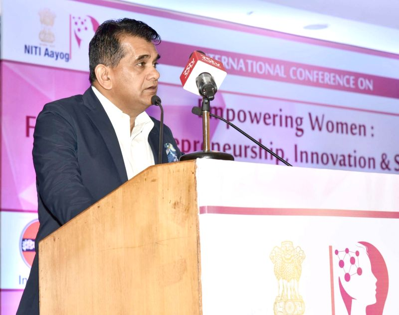 NITI Aayog CEO Amitabh Kant addresses at the International Conference on 'Empowering Women: Fostering Entrepreneurship, Innovation and Sustainability', jointly organised by the NITI ...