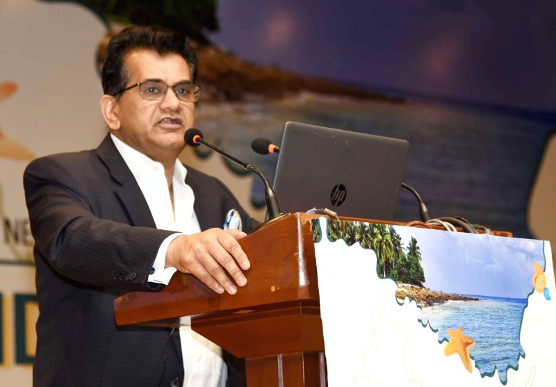 NITI Aayog CEO Amitabh Kant addresses at the inauguration of an Investors' Conference for the Holistic Development of Islands, hosted by the NITI Aayog, in New Delhi, on Aug 10, 2018.