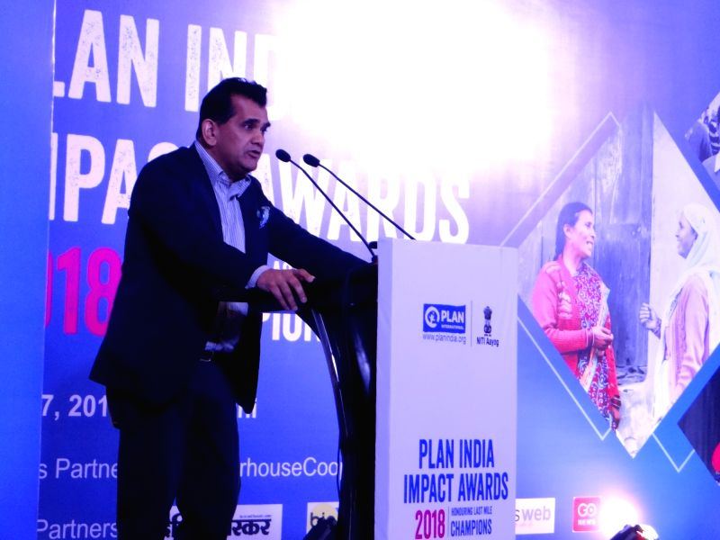 NITI Aayog CEO Amitabh Kant addresses during Plan India Impact Awards 2018, in New Delhi on July 27, 2018.
