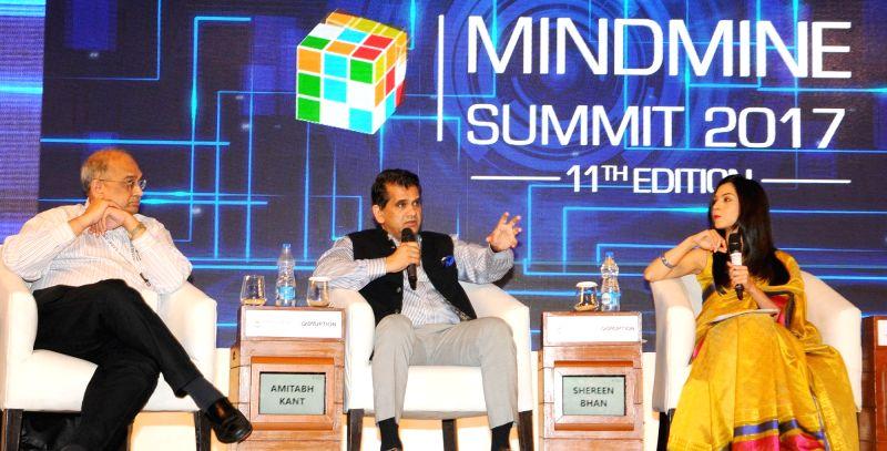 NITI Aayog CEO Amitabh Kant addresses the Mindmine Summit 2017 in New Delhi on April 20, 2017.
