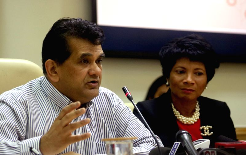 NITI Aayog CEO Amitabh Kant and Intel Foundation president and Intel Corporation vice president of human resources and director of corporate affairs, Rosalind Hudnell during during the ...