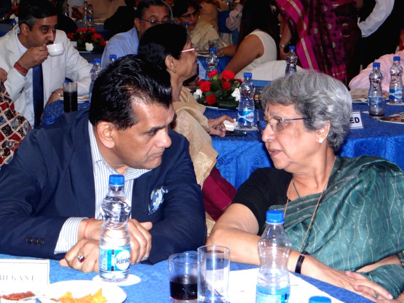 NITI Aayog CEO Amitabh Kant in a conversation with Fashion Design Council of India (FDCI) former DG Rathi Vinay Jha during Plan India Impact Awards 2018, in New Delhi on July 27, 2018.