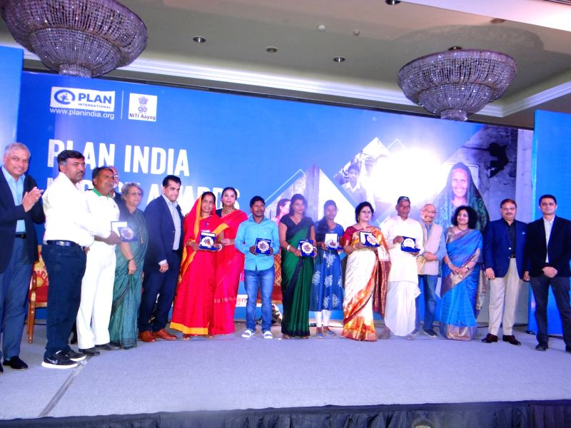 NITI Aayog CEO Amitabh Kant, Plan India Governing Board Chair Emeritus Govind Nihalani, Plan India Executive Director Bhagyashri Dengle, actress Shabana Azmi and Fashion Design Council of ... - Shabana Azmi