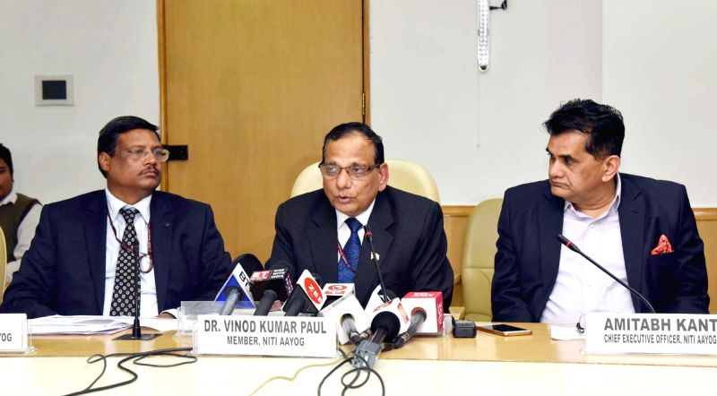 """NITI Aayog Member Dr. V.K. Paul along with the CEO Amitabh Kant addresses a press conference on """"Budget 2018-19 and the Healthcare Sector"""" in New Delhi on Feb 2, 2018."""