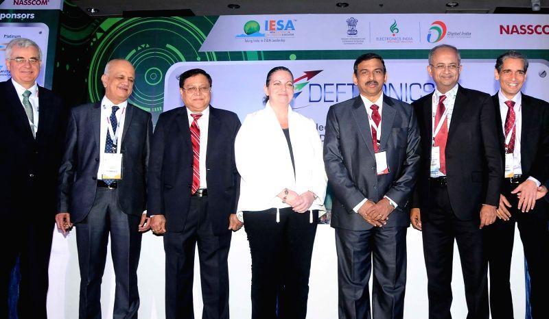 NITI Aayog member Dr VK Saraswat, NASSCOM President R Chandrashekar and Consul General of Israel Yael Hashavit addresses during the inauguration of DEFTRONICS 2016, in Bengaluru on Aug 4, ...