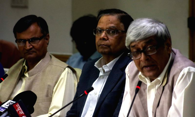 NITI Aayog member, Prof Bibek Debroy addresses a press conference in New Delhi on April 25, 2017. Also seen NITI Aayog vice chairman Arvind Panagariya.