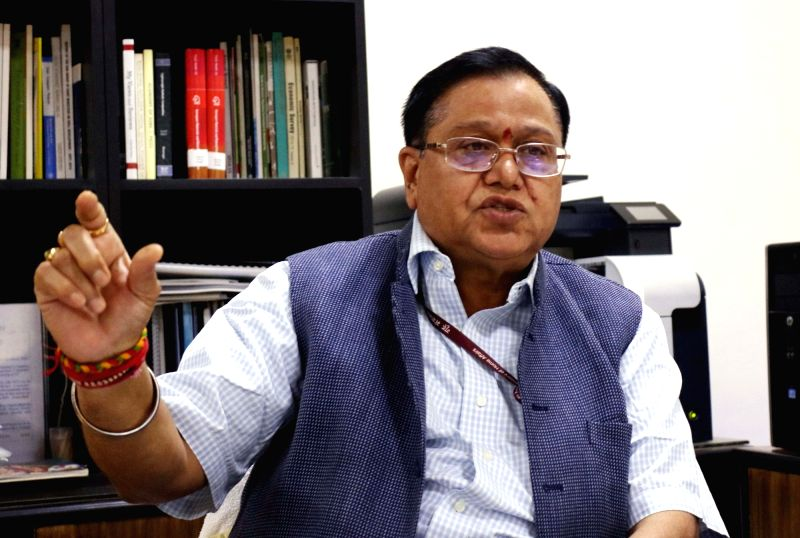 NITI Aayog member V K Saraswat during an interview with IANS in New Delhi on April 24, 2017.