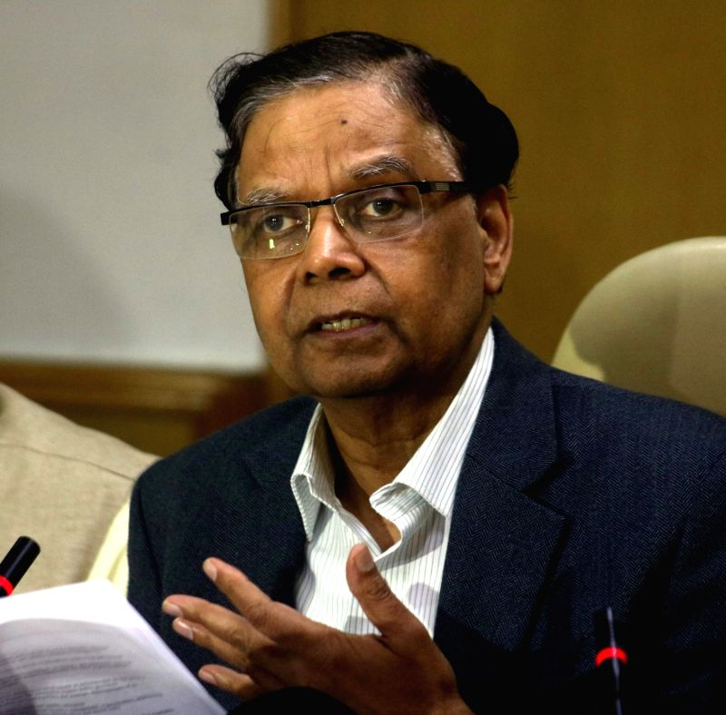 NITI Aayog vice chairman Arvind Panagariya addresses a press conference in New Delhi on April 25, 2017. Also seen NITI Aayog member, Prof Bibek Debroy.
