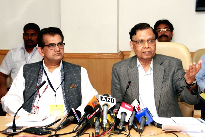 Niti Aayog vice-chairman Arvind Panagariya and Niti Aayog CEO Amitabh Kant addresses a press conference after 3rd Governing Council Meeting in New Delhi, on April 23, 2017.