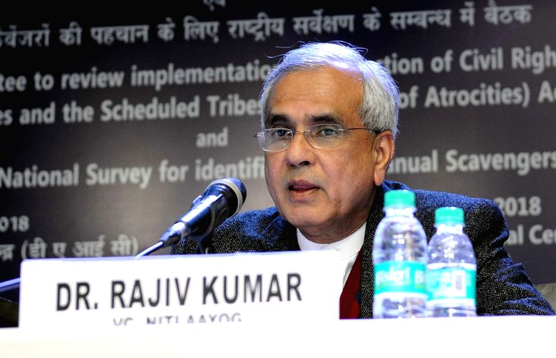 """NITI Aayog Vice Chairman Dr. Rajiv Kumar addresses during a meeting of the Ministers and Principal Secretaries of the States for the """"Survey of Manual Scavengers in 18 States"""" in ... - Rajiv Kumar"""