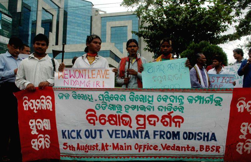 Niyamgiri Surakshya Samiti activists stage a demonstration against Vedanta group in Bhubaneswar on Aug 5, 2016.
