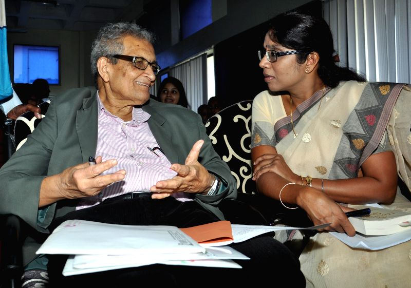 Nobel laureate Amartya Sen and West Bengal Women and Child Development and Social Welfare Minister Shashi Panja during a workshop on 'People's Health and Public Policy' in Kolkata on July 18, 2014. - Shashi Panja