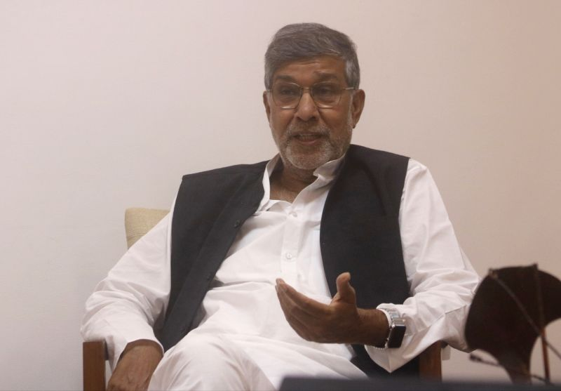 Nobel laureate Kailash Satyarthi during an interaction with IANS, in New Delhi, on  July 23, 2018. - Kailash Satyarthi