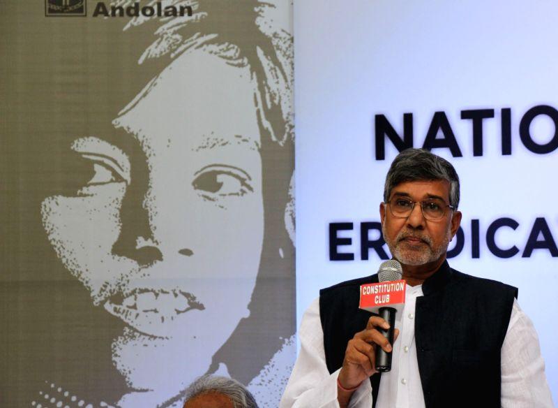 Nobel Peace Laureate Kailash Satyarthi addresses a press conference in New Delhi, on May 27, 2016. - Kailash Satyarthi