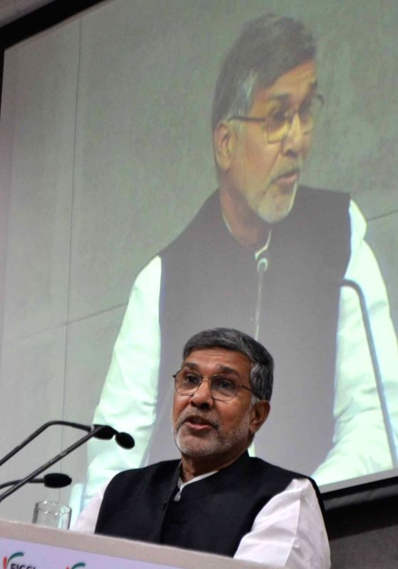 Nobel Peace Laureate Kailash Satyarthi addresses during a FLO session at FICCI in New Delhi on May 17, 2017. - Kailash Satyarthi