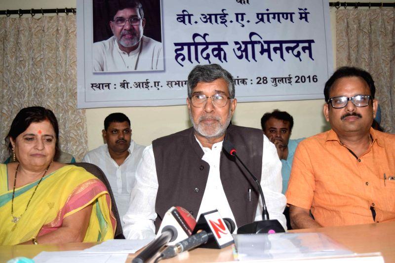 Nobel Peace Laureate Kailash Satyarthi during a programme in Patna on July 28, 2016. - Kailash Satyarthi