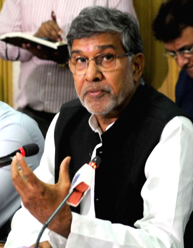 Nobel Peace Laureate Kailash Satyarthi during a programme organised by Merchants' Chamber of Commerce in Kolkata on April 22, 2017. - Kailash Satyarthi