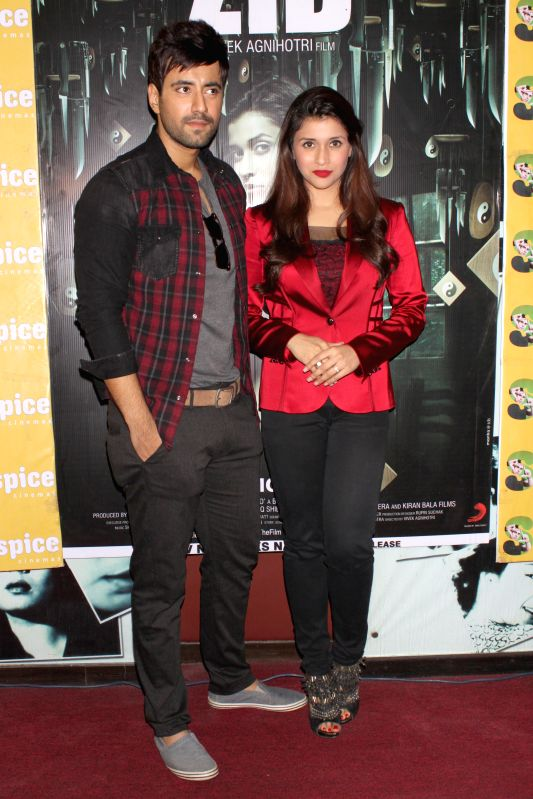 Actors Mannara and Karanvir Sharma during a press meet for their upcoming film `Zid`, in Noida, UP on Nov 27, 2014.