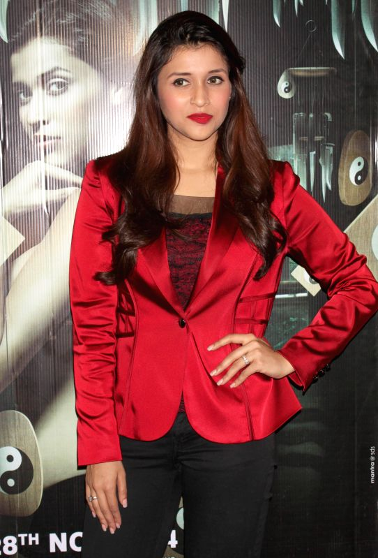 Actress Mannara during a press meet for their upcoming film `Zid`, in Noida, UP on Nov 27, 2014.