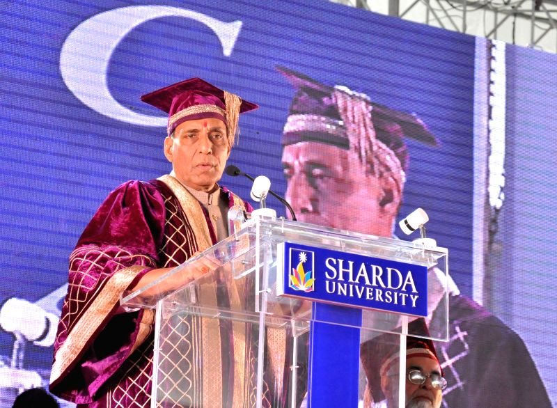 Union Home Minister Rajnath Singh addresses at the 1st convocation of Sharda University, in Greater Noida on Feb 27, 2015.