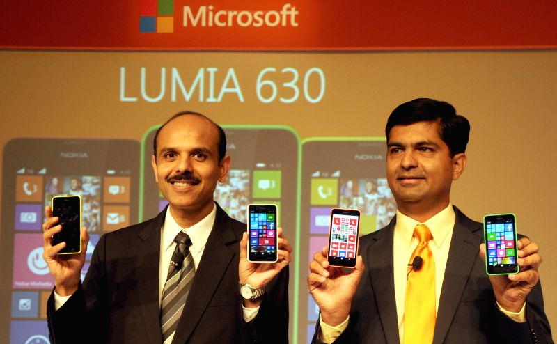 Nokia India Managing Director P. Balaji and IMEA, Head of Microsoft Smart Devices, Vipul Mehrotra during launch of Lumia 630 in New Delhi on May 12, 2014.