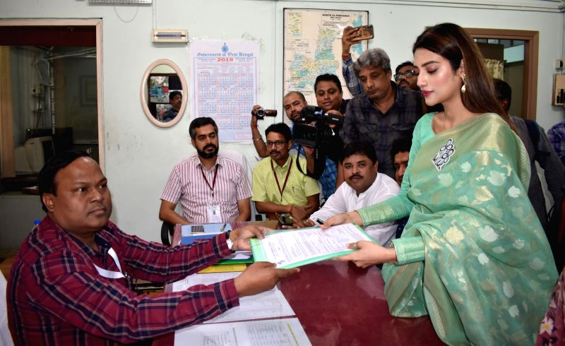North 24 Parganas: TMC's candidate from Basirhat constituency, Nusrat Jahan files her nomination for the forthcoming Lok Sabha polls, in West Bengal's North 24 Parganas, on April 22, 2019. (Photo: IANS)